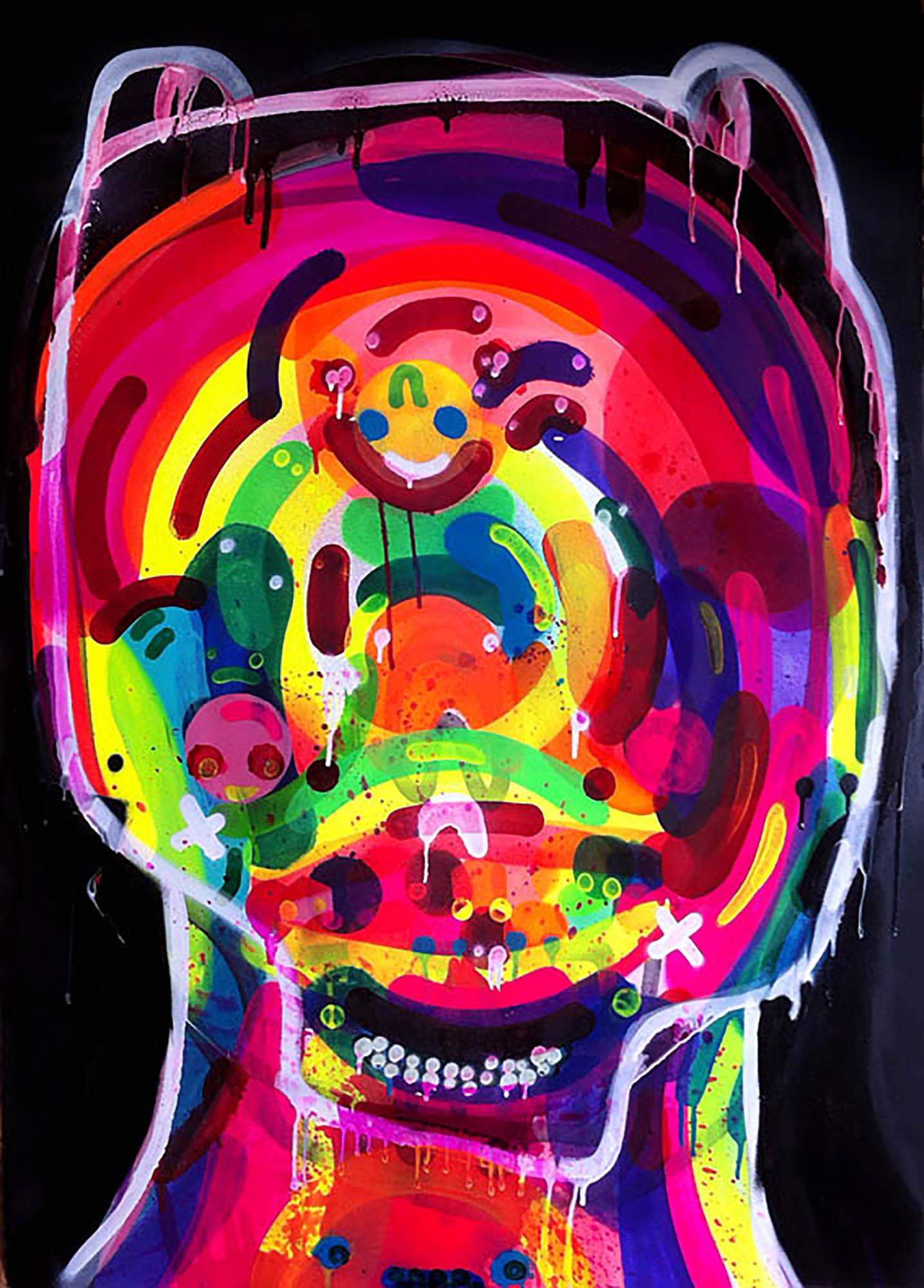 Obra do artista Prozak técnica mista sobre papel Fabriano 70x100cm